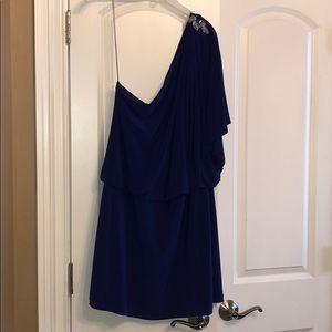 EUC sz 14 one shoulder dress R. blue Scarlett Nite